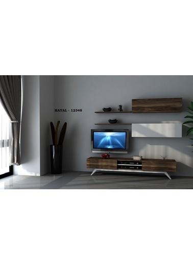 Sanal Mobilya Hayal 12348 Tv Ünitesi Leon Ceviz/Parlak Beyaz Beyaz